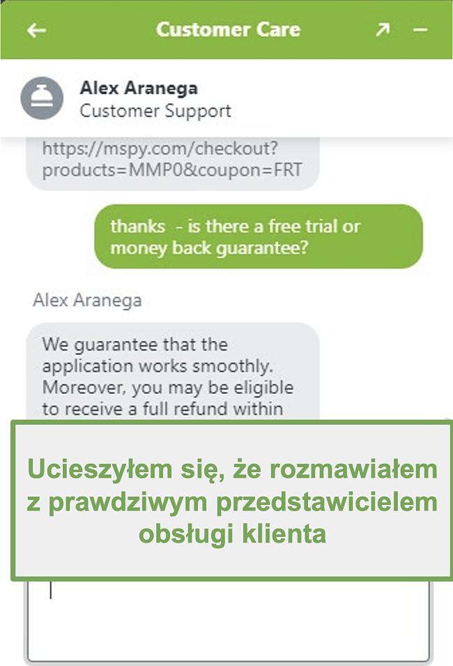 Zrzut ekranu czatu z prawdziwym agentem obsługi klienta