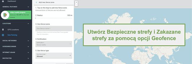 Zrzut ekranu stref bezpiecznych i zabronionych z opcją Geofence