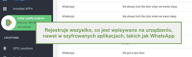 Zrzut ekranu dzienników z zaszyfrowanych aplikacji, takich jak WhatsApp