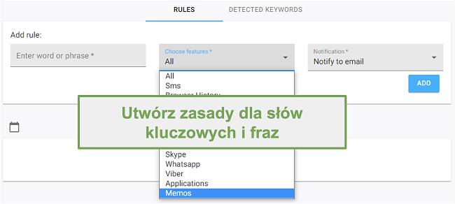 Zrzut ekranu z regułami słów kluczowych i fraz