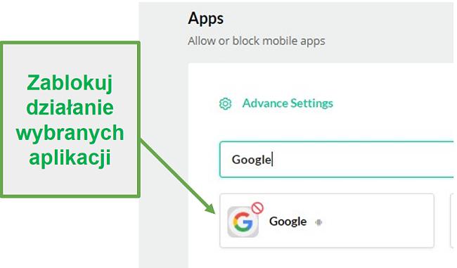 Mobicip blokuje aplikacje