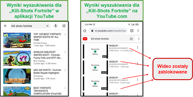Mobicip blokuje YouTube