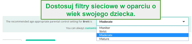 Opcje filtrowania Mobicip
