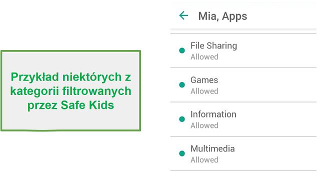 Kategorie filtrów Safe Kids