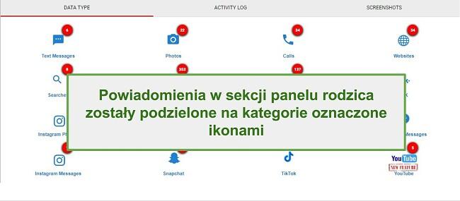 Zrzut ekranu sekcji alertów WebWatcher