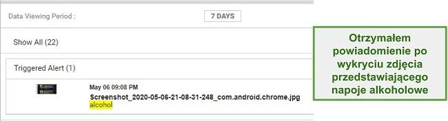 Zrzut ekranu alertów WebWatcher z obrazów