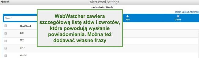 Zrzut ekranu z Webwatcher Alert Words