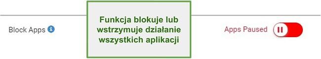 Zrzut ekranu Webwatcher blokuje lub wstrzymuje aplikacje
