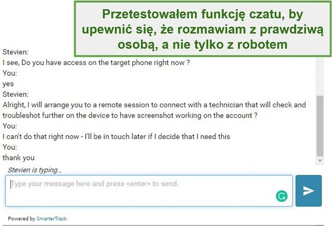 Zrzut ekranu obsługi klienta Webwatcher