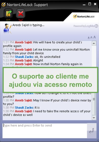 Conexão remota de suporte ao cliente Norton Family