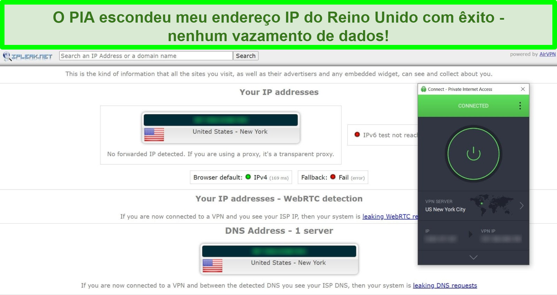 Captura de tela dos resultados do teste de vazamento de IP com PIA conectado a um servidor dos EUA.