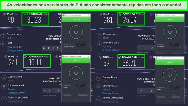 Capturas de tela dos testes de velocidade Ookla com PIA conectado a diferentes servidores globais.