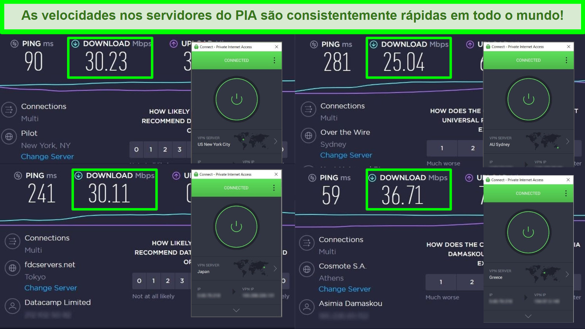 Capturas de tela de testes de velocidade Ookla com PIA conectado a diferentes servidores globais.