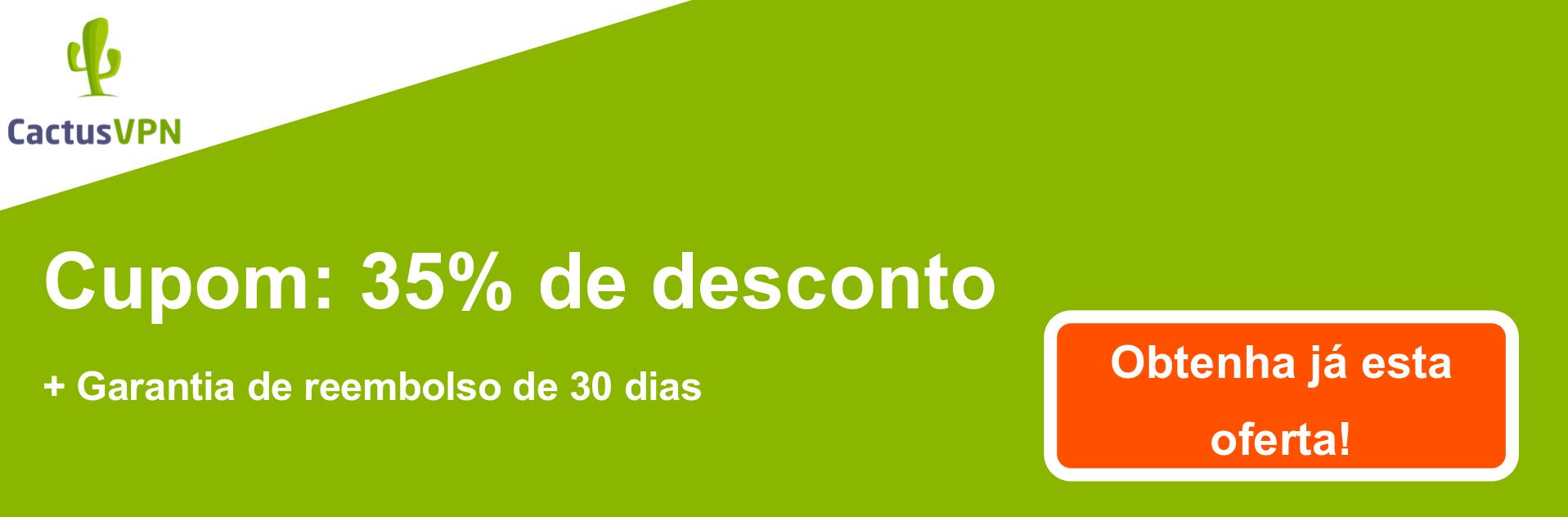 Banner de cupom CactusVPN - 38% de desconto