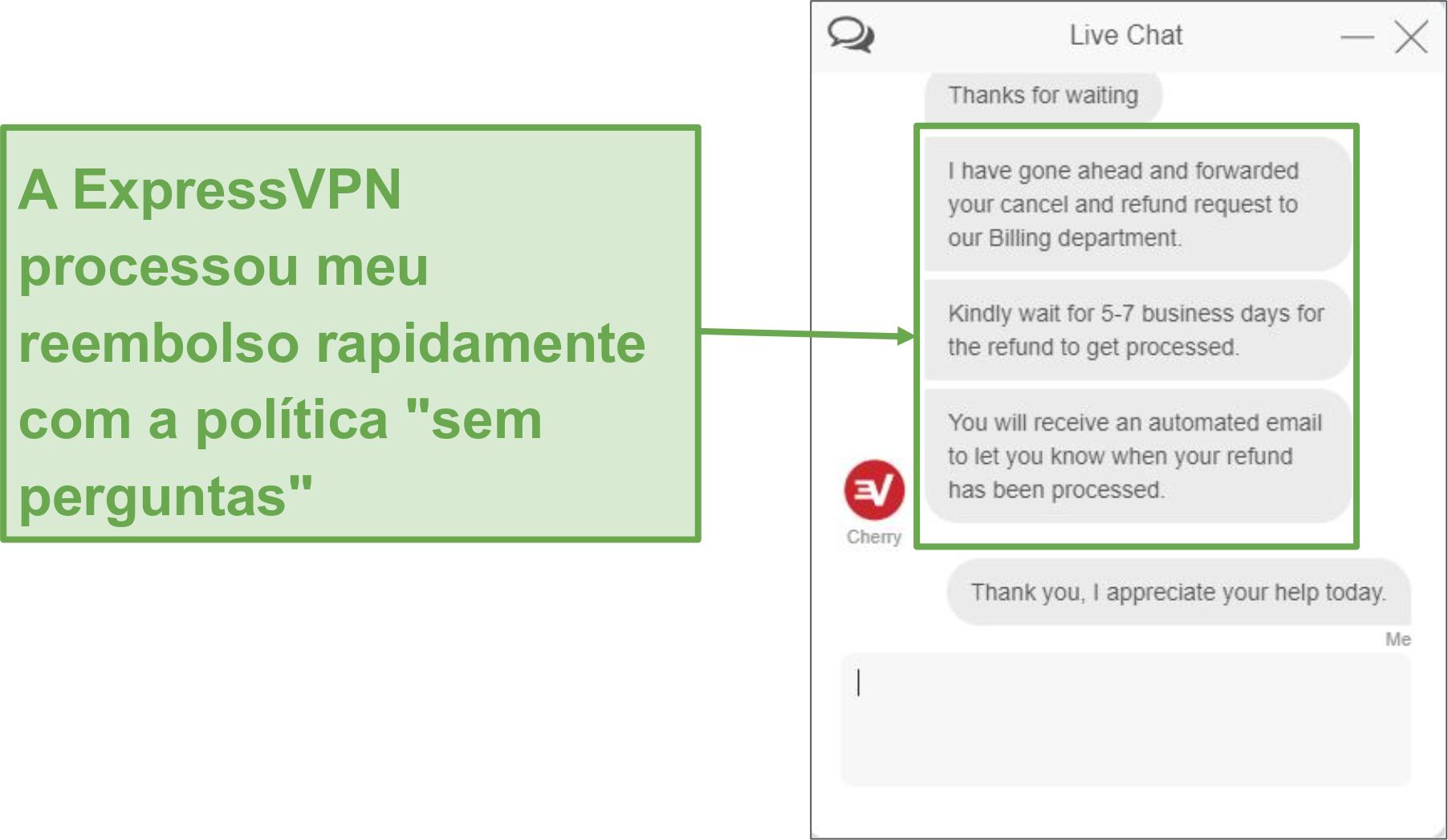 Screenshot do pedido de reembolso através do chat ao vivo.