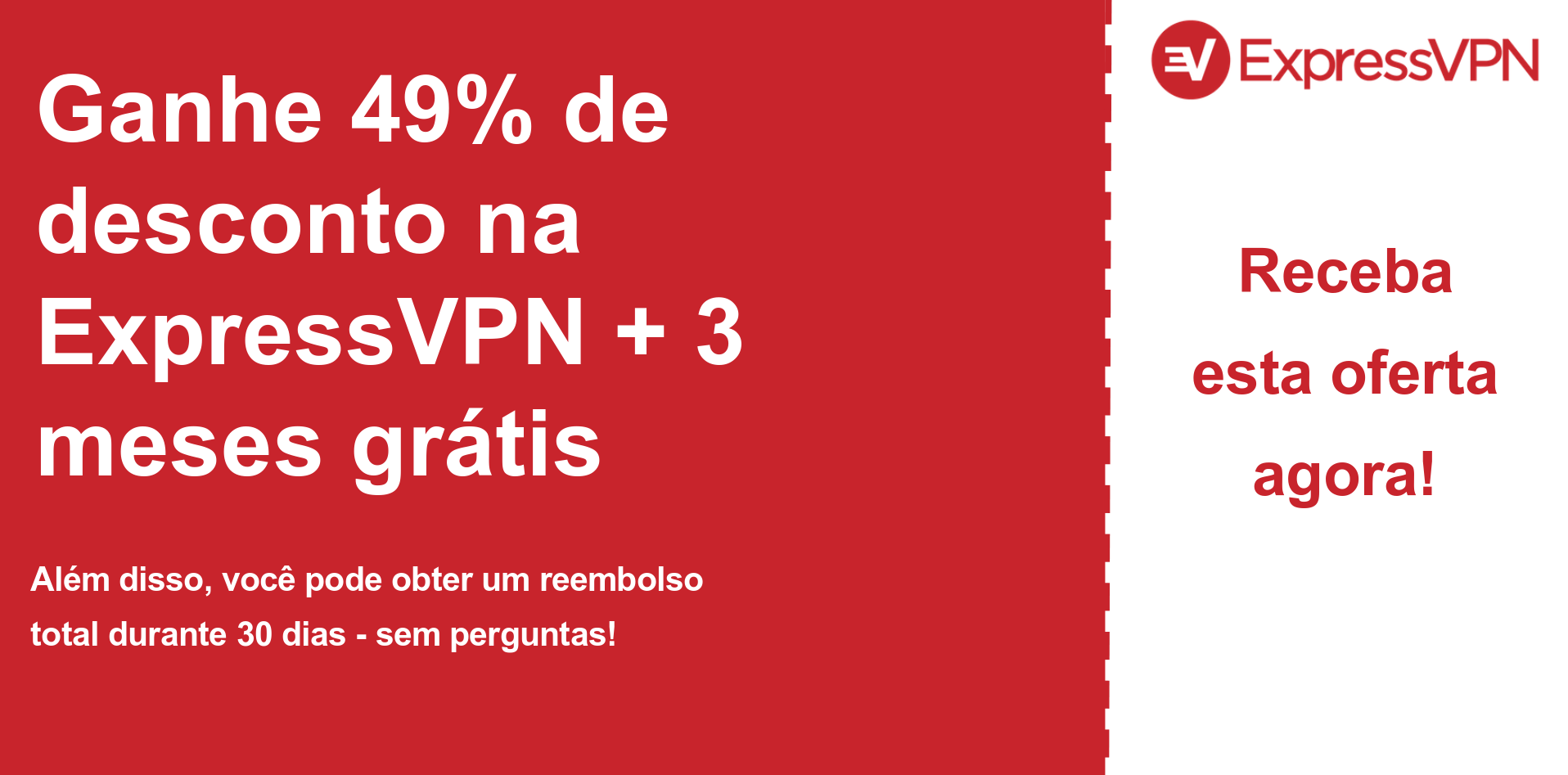 gráfico do banner do cupom principal da ExpressVPN mostrando 49% de desconto