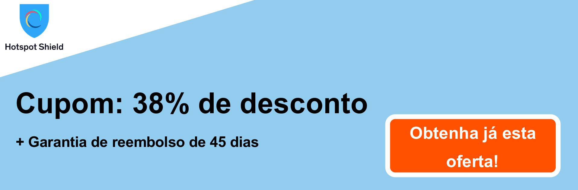 Banner de cupom do HotspotShield VPN - 38% de desconto