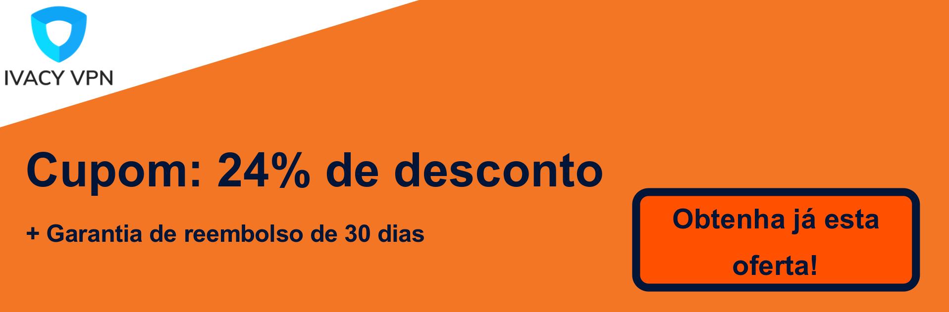 Banner de cupom do Ivacy VPN - 24% de desconto