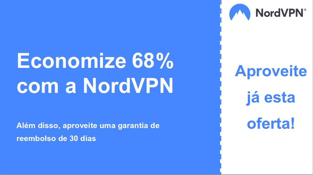 gráfico do banner de cupom principal Nordvpn mostrando 68% de desconto