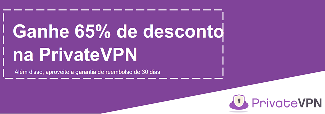 Gráfico de um cupom PrivateVPN que oferece um desconto de 65% com garantia de devolução do dinheiro em 30 dias