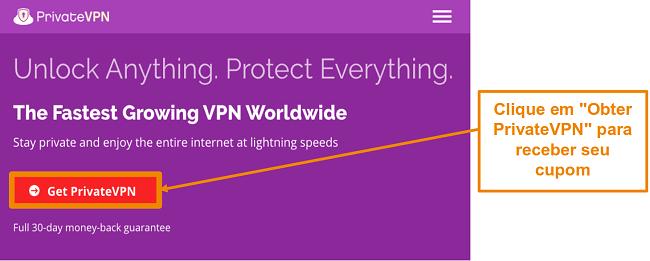 Captura de tela da tela inicial de PrivateVPN com um