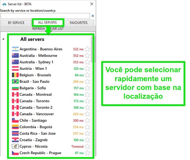 Captura de tela dos locais do servidor PrivateVPN na lista