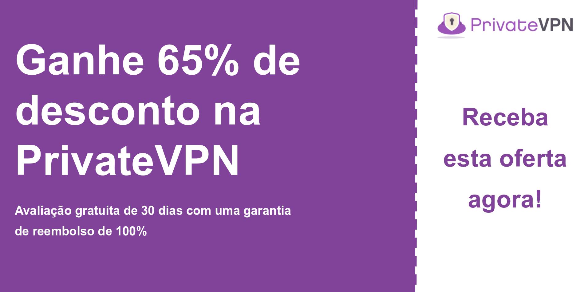 gráfico do banner do cupom principal PrivateVPN mostrando 65% de desconto