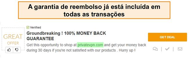 Captura de tela de um cupom PrivateVPN anunciando uma garantia de devolução do dinheiro como um