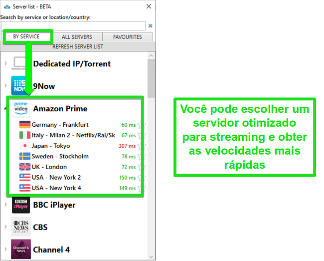 Captura de tela das opções do servidor de streaming para PrivateVPN