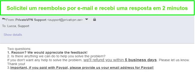 Captura de tela de PrivateVPN respondendo rapidamente à minha solicitação de reembolso por e-mail