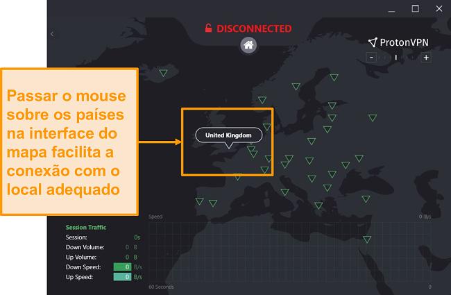 Captura de tela do mapa de servidor interativo do ProtonVPN.