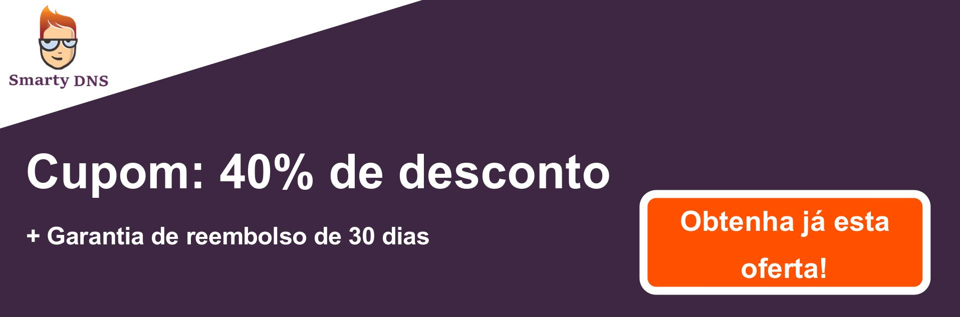Banner de cupom do SmartyDNS - 40% de desconto