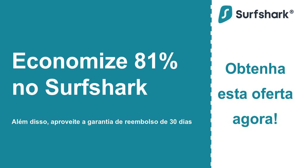Imagem do banner do cupom principal do Surfshark VPN mostrando US $ 2,49 por mês