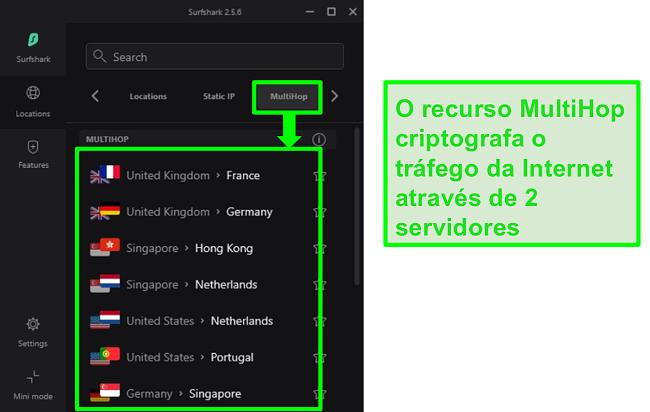 Captura de tela da visão geral do servidor Surfshark mostrando seus servidores MultiHop