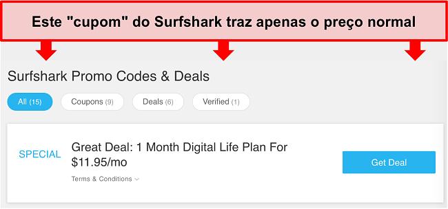 Captura de tela de códigos promocionais e ofertas falsas do Surfshark