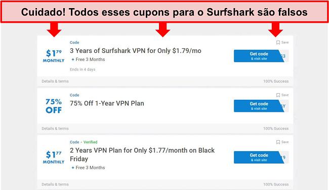 Captura de tela de cupons Surfshark falsos