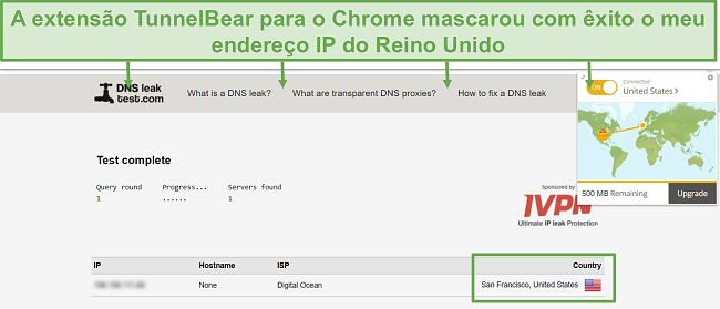 Captura de tela dos resultados do teste de vazamento de DNS quando conectado ao TunnelBear.