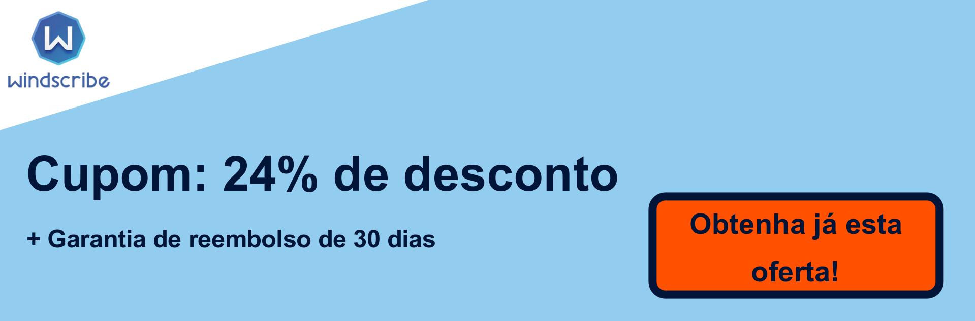 Banner com cupom de WindScribe VPN - 24% de desconto