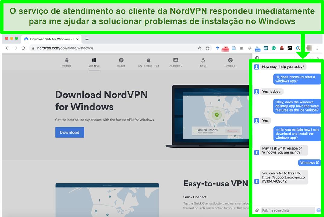 Captura de tela de um serviço de atendimento ao cliente do NordVPN auxiliando no processo de instalação do Windows.