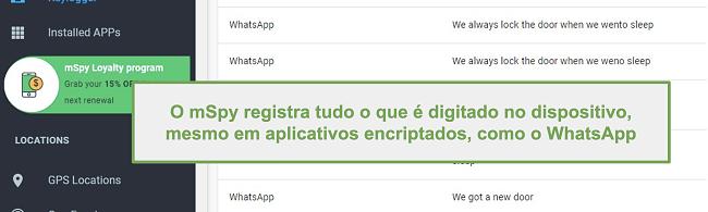 Captura de tela de registros de aplicativos criptografados como o WhatsApp