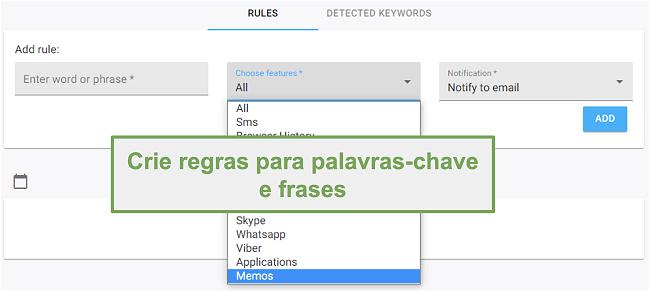 Captura de tela de regras para palavras-chave e frases