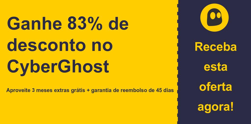 gráfico do banner do cupom principal do CyberGhostVPN mostrando 83% de desconto