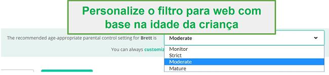 Opções de filtro Mobicip