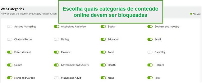 Categorias da web Mobicip