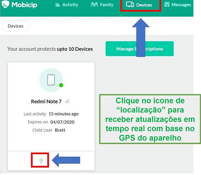 Localização Mobicip