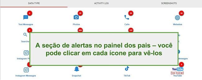Captura de tela da seção WebWatcher Alert