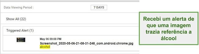 Captura de tela de alertas do WebWatcher a partir de imagens