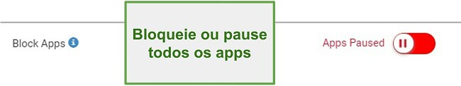 Captura de tela do Webwatcher bloquear ou pausar aplicativos