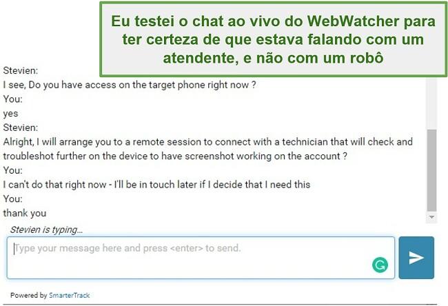 Captura de tela do suporte ao cliente do Webwatcher