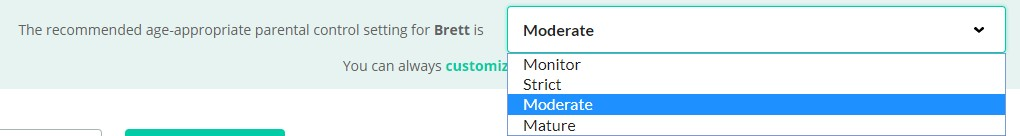 Parental control setting options